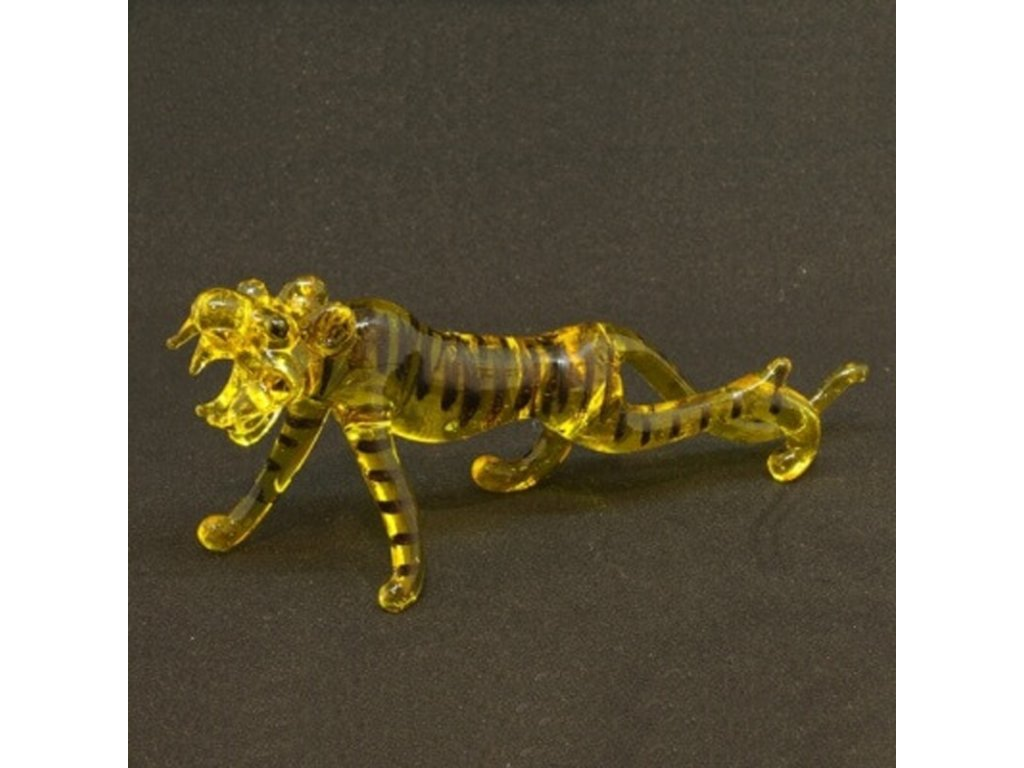 Soška sklo Tiger žlutá