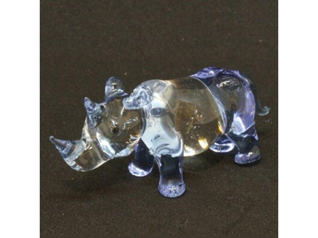 Soška sklo Rhino fialová