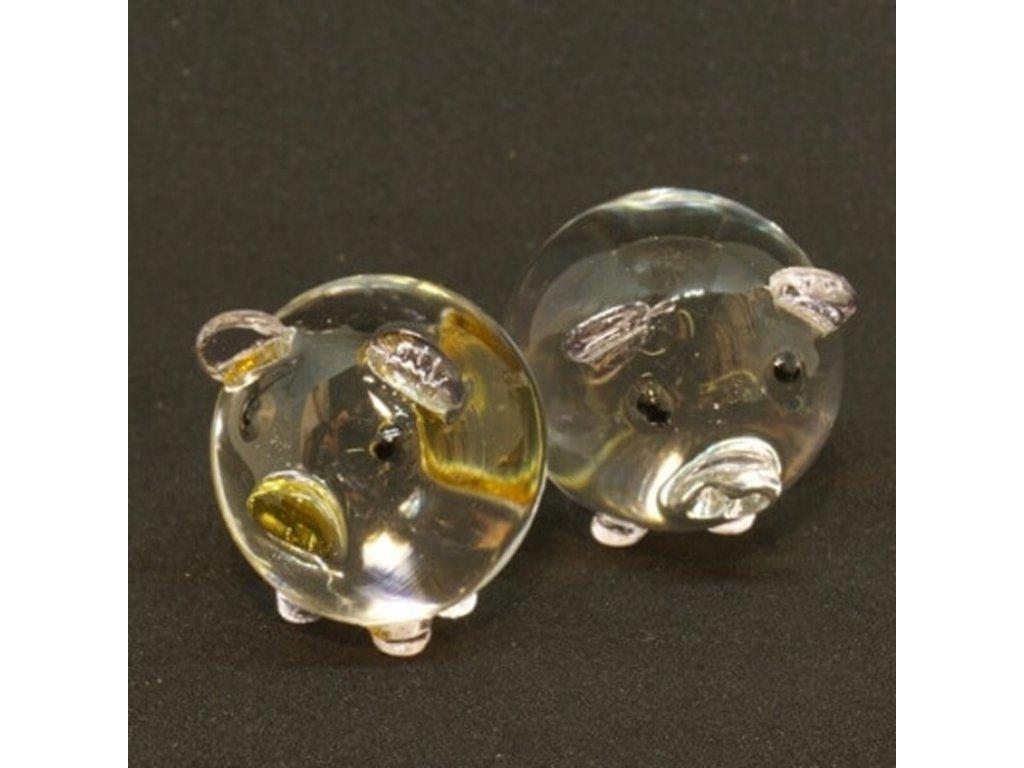 Soška sklo Piggy růžová
