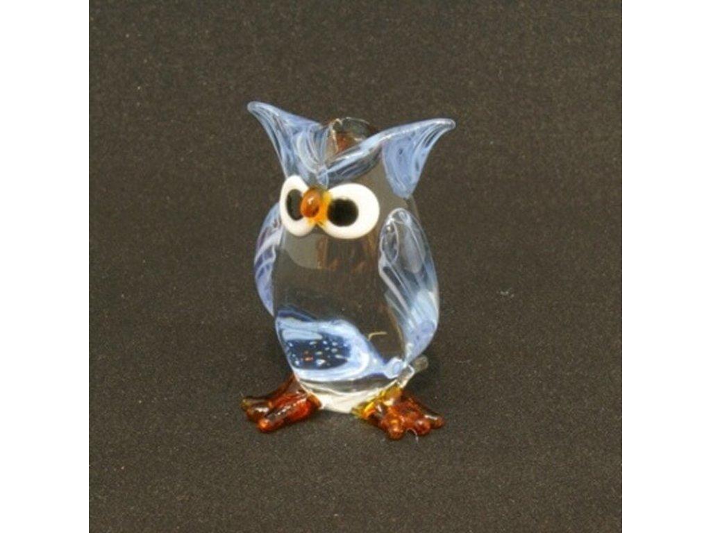 Soška sklo Owl fialová