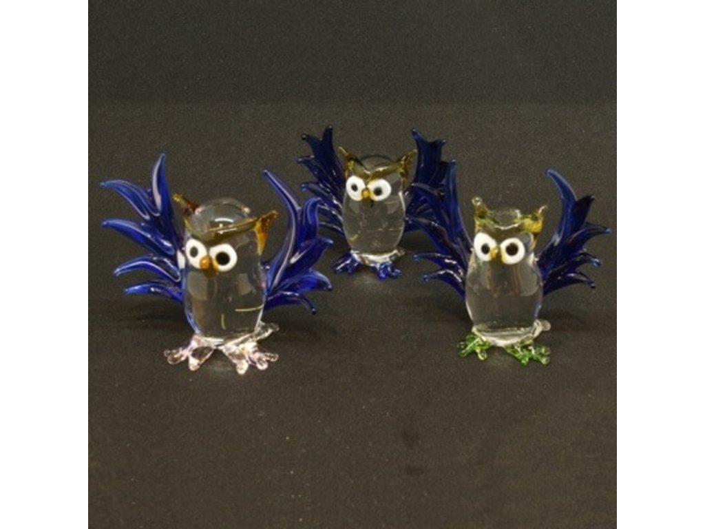 Soška sklo Owl modrá