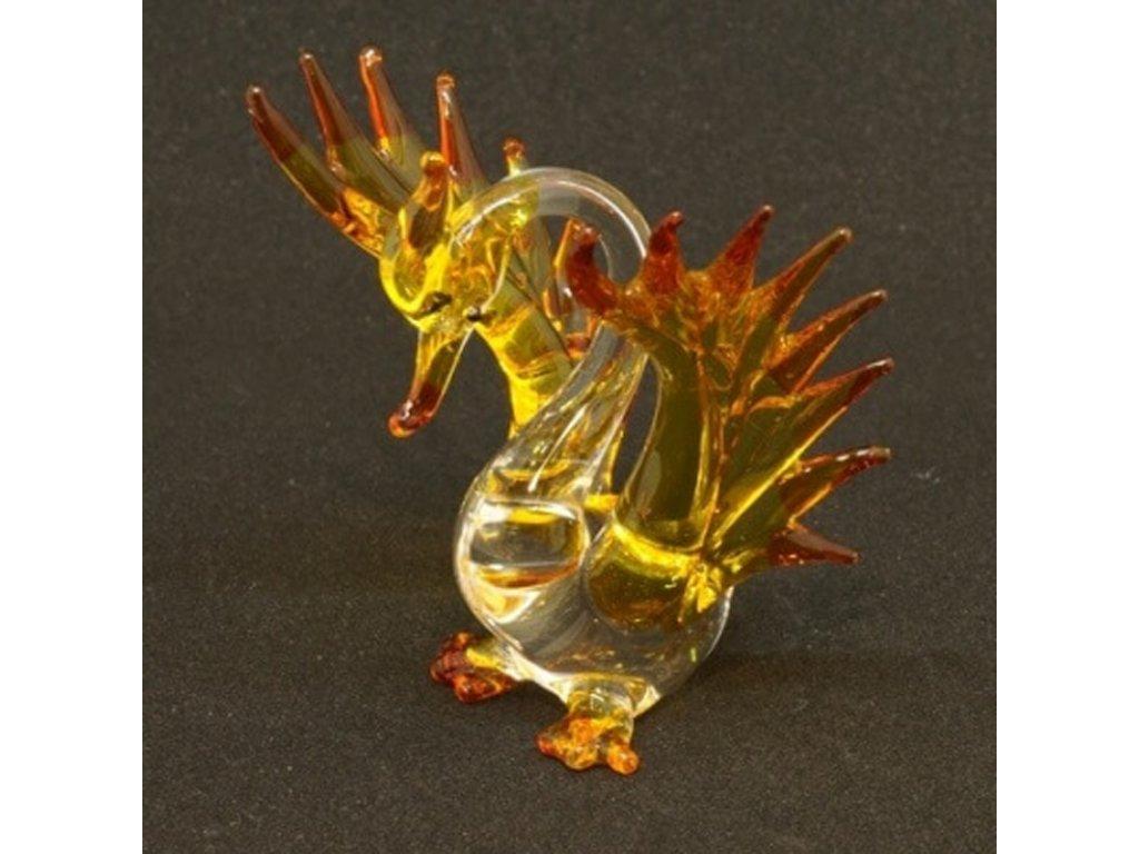Soška sklo Phoenix žlutá