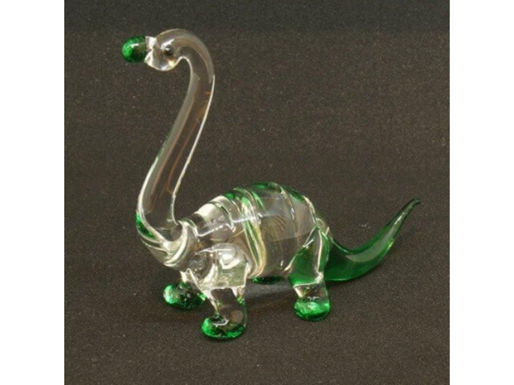 Soška sklo Brontosaurus zelená