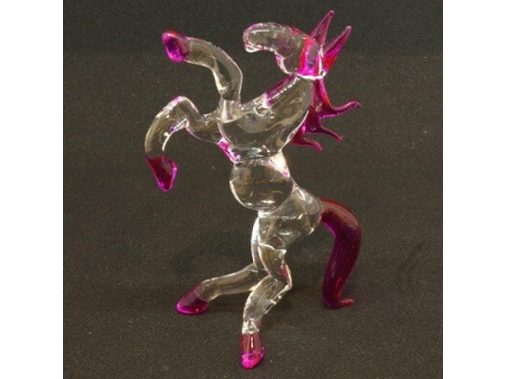 Soška sklo Horse růžová