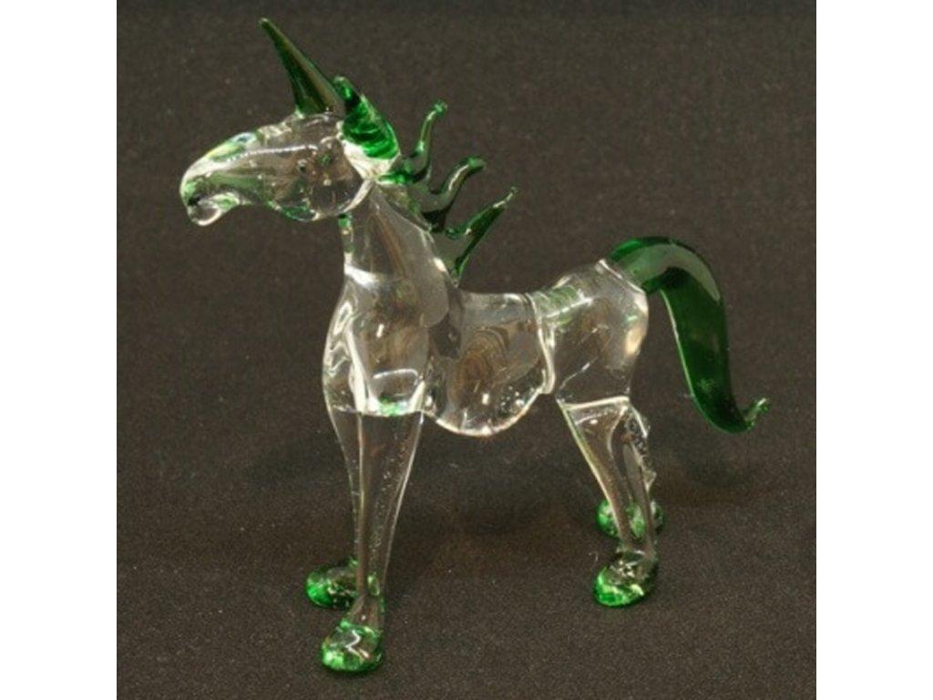 Soška sklo Horse zelená