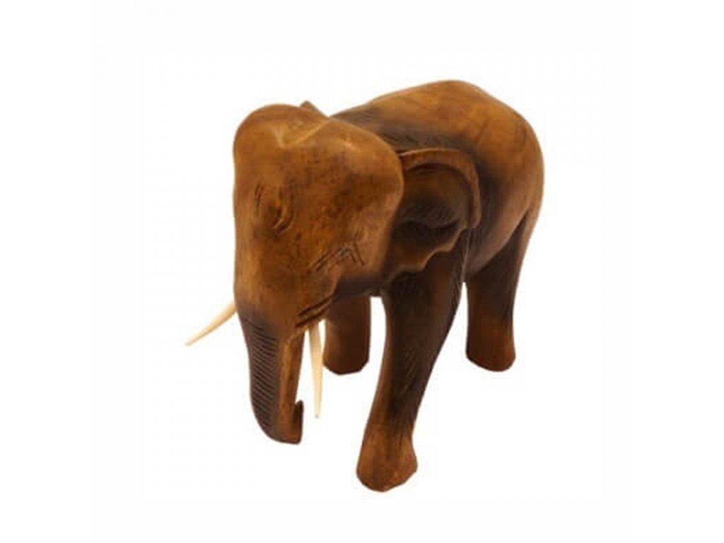 Soška dřevo Slon 21 cm