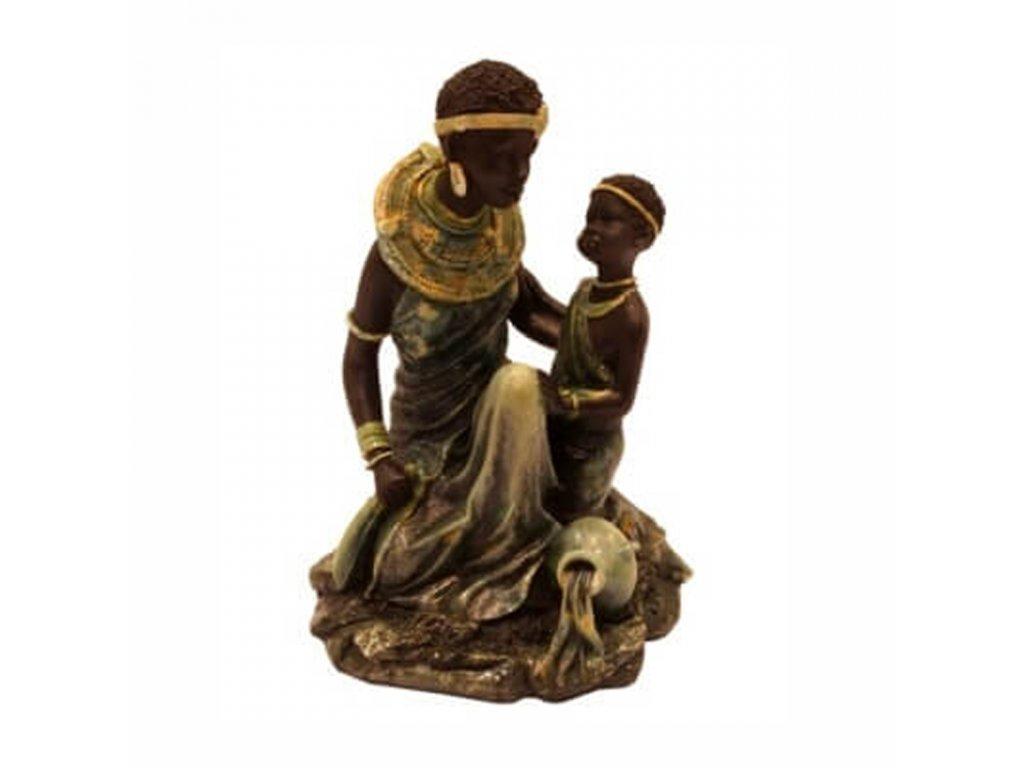 Soška resin Africká žena s dítětem 19 cm