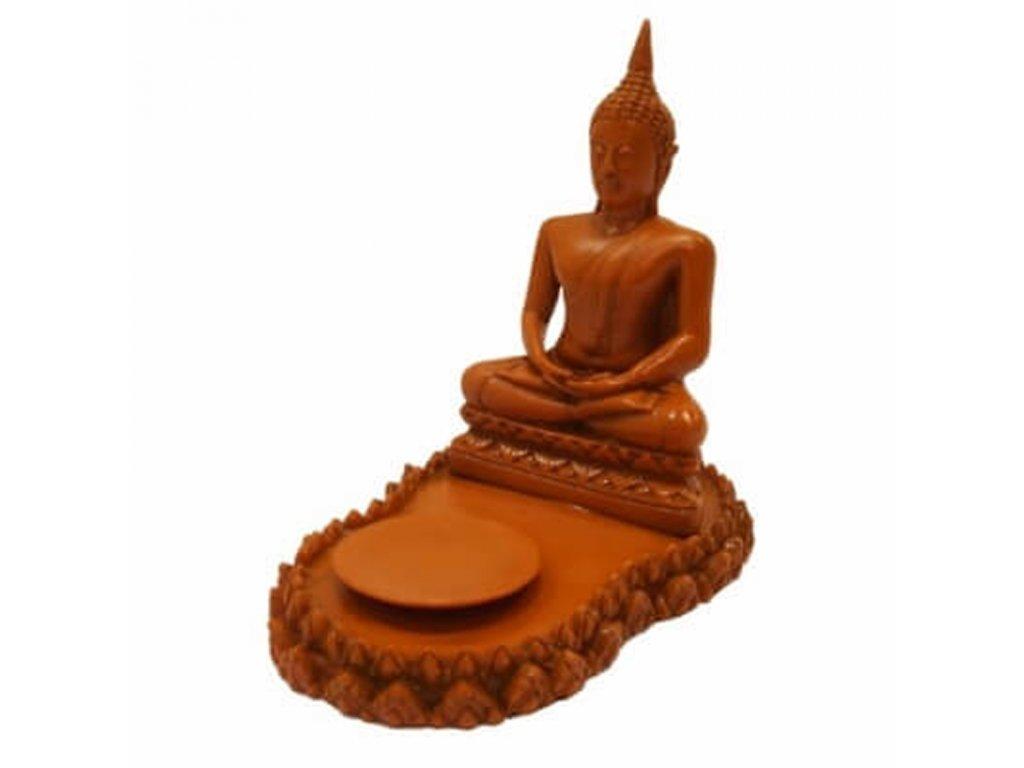 Soška resin Buddha Meditation svícen 18 cm