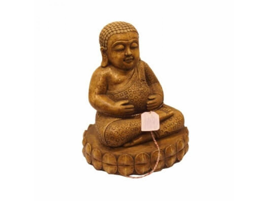 Soška beton Buddha Hotei 48 cm hnědá