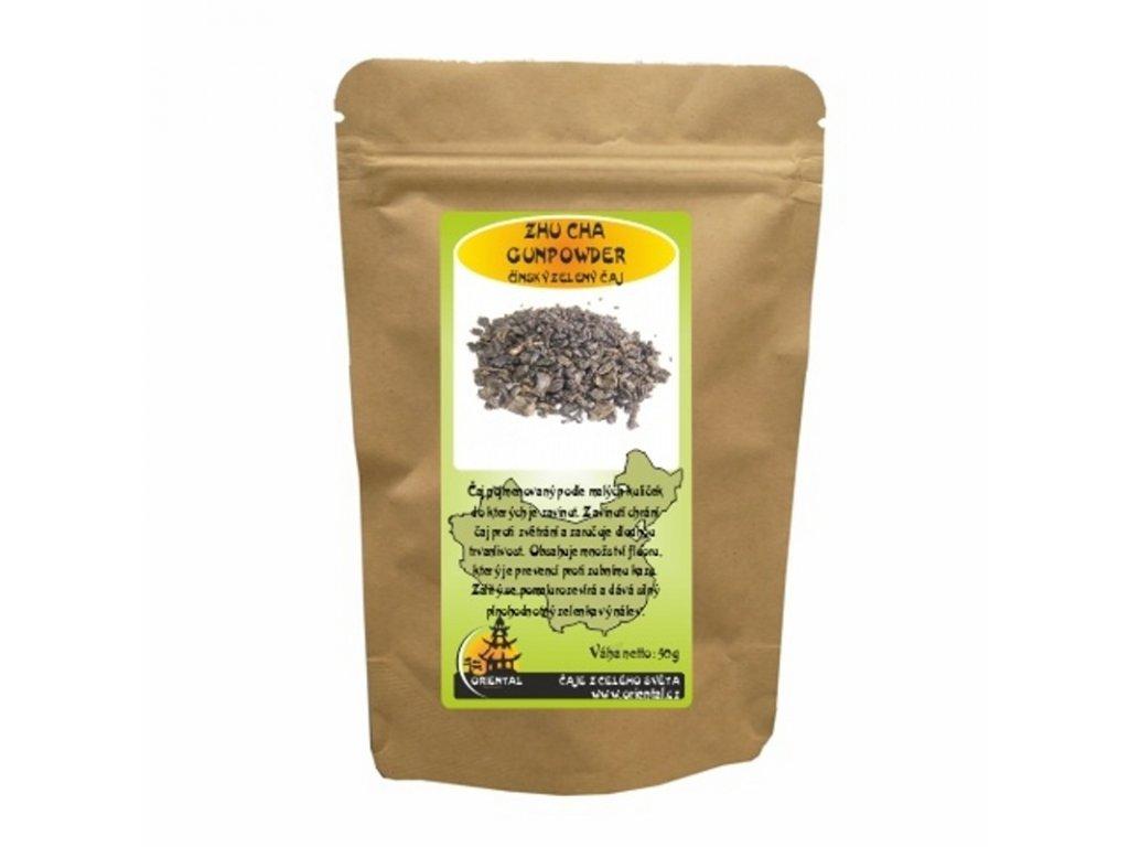 Čínský zelený čaj Zhu Cha Gunpowder - Perlový čaj 50 g