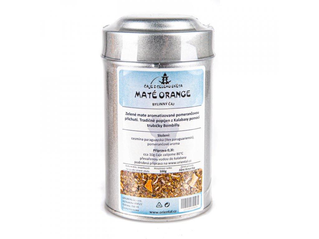 Rostlinný čaj Mate Orange 100 g dóza