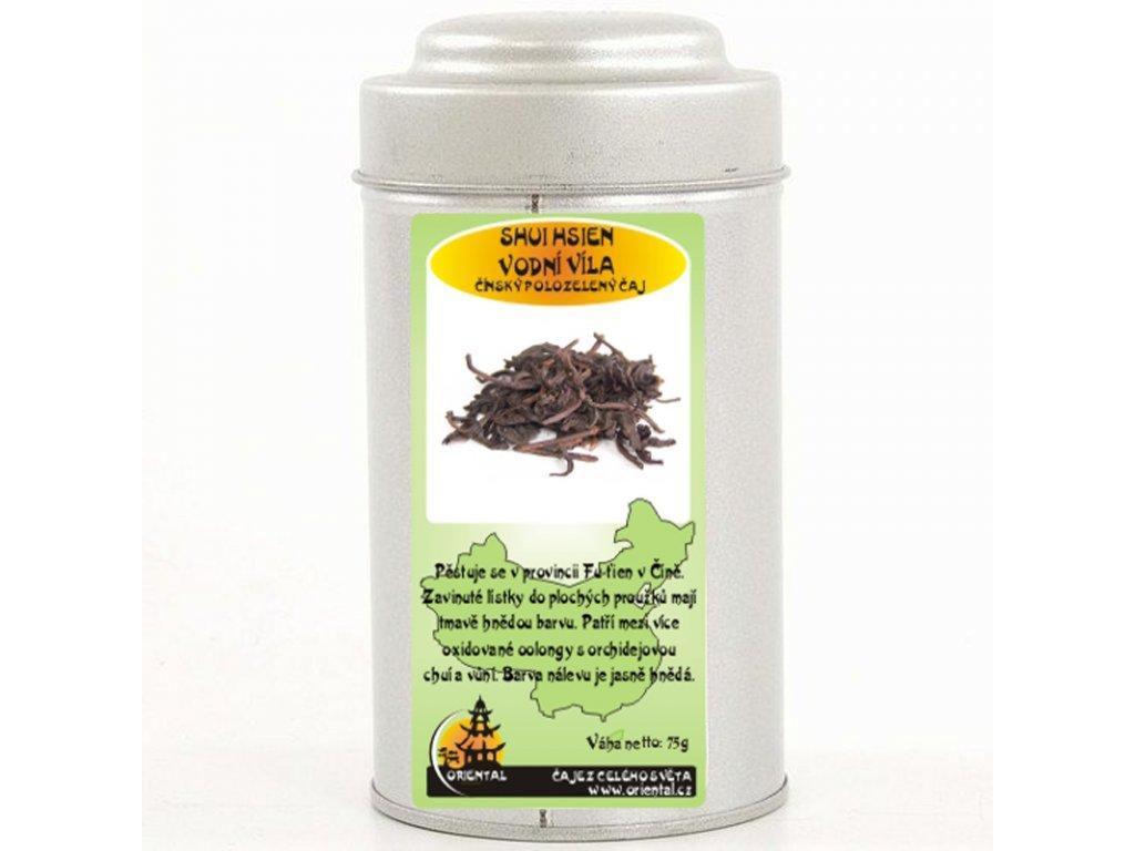 Čínský polozelený čaj Shui Hsien - Vodní víla 75 g dóza