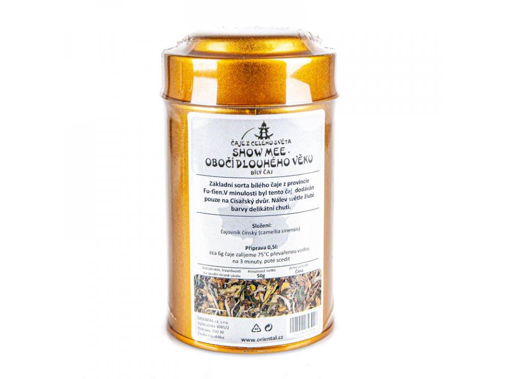 Čínský bílý čaj Shou mei - Obočí dlouhého věku 50 g dóza