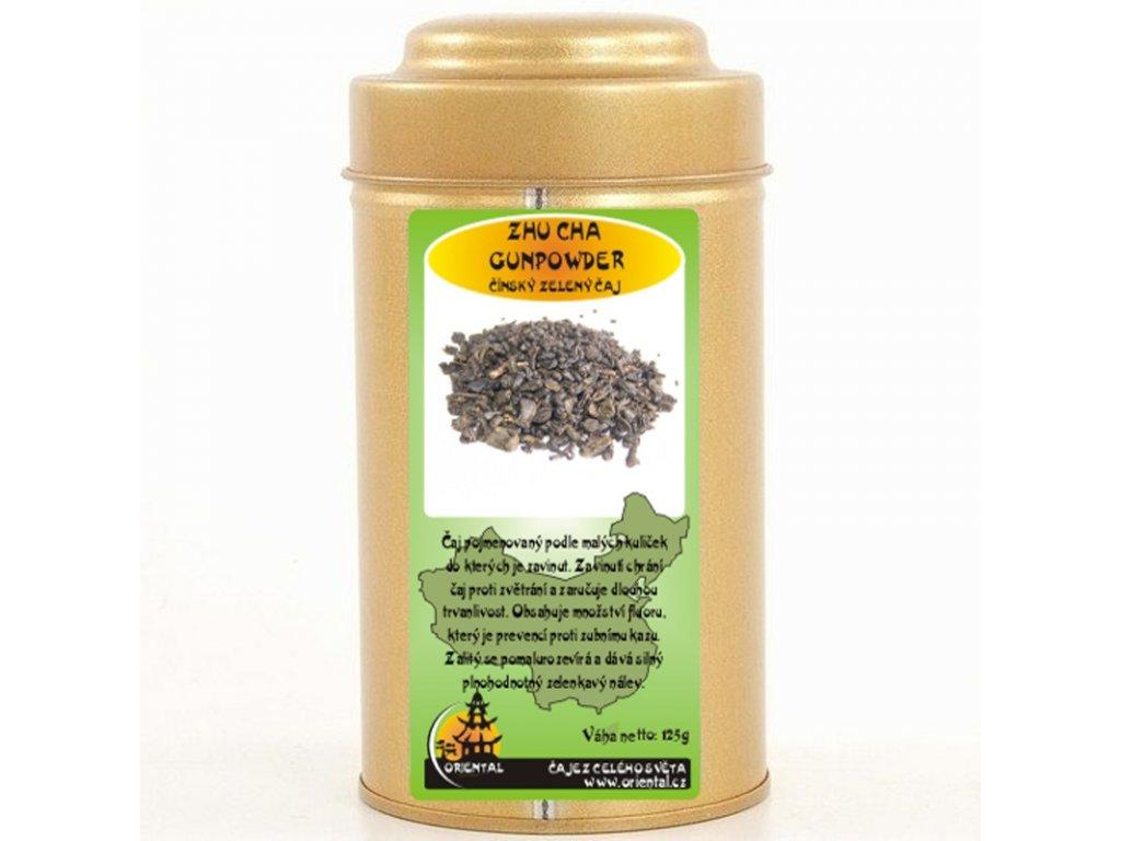 Čínský zelený čaj Zhu Cha Gunpowder - Perlový čaj 125 g dóza