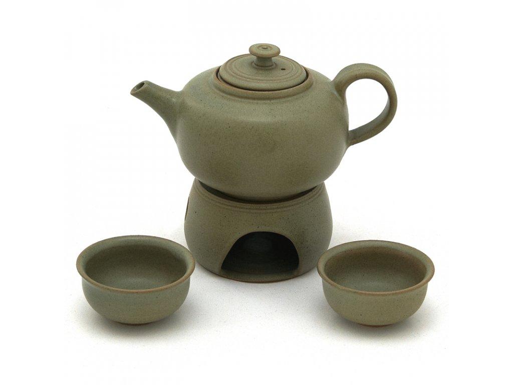 Čajová souprava kamenina zelená hladká - 2 šálky