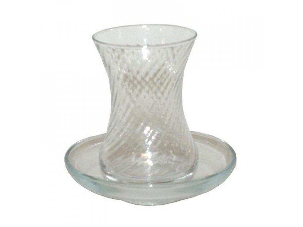Turecká čajová sklenička Tuareg s talířkem 125 ml