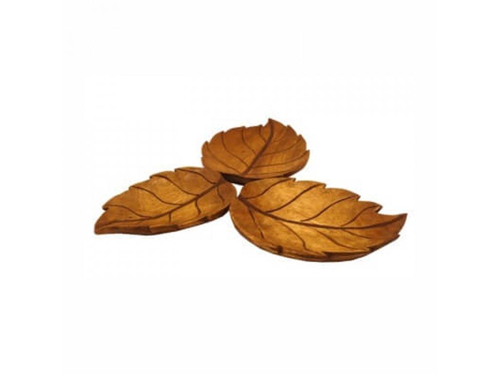 Set podnosů dřevo Listy 32 cm