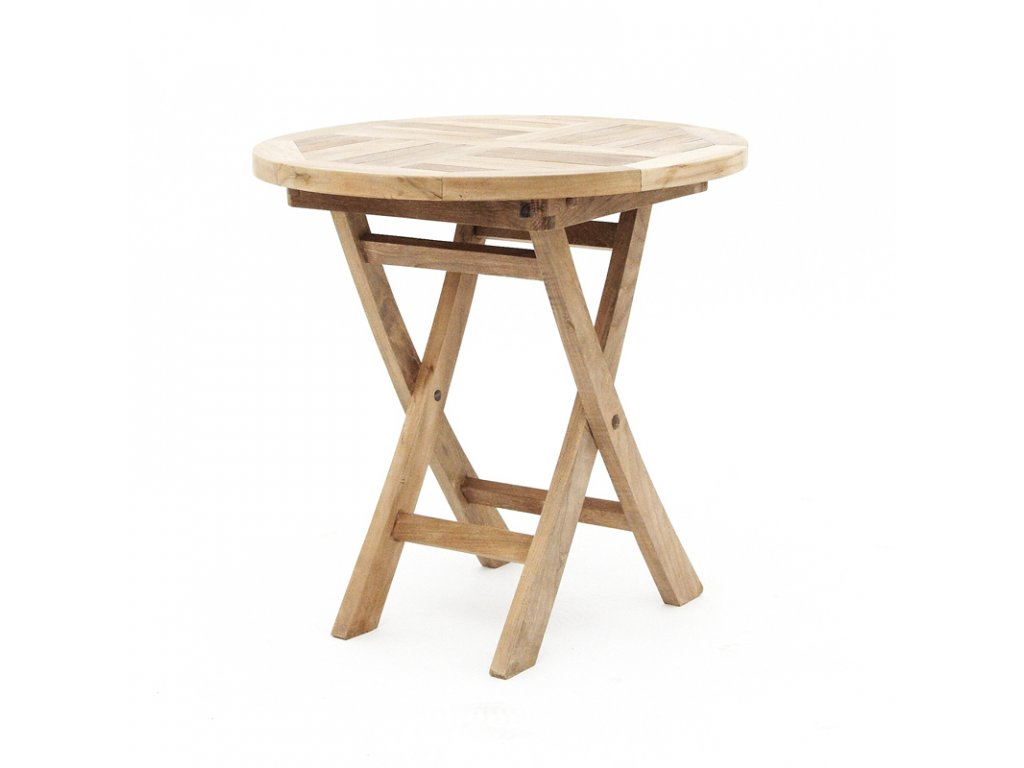 Teak - stůl kulatý skládací
