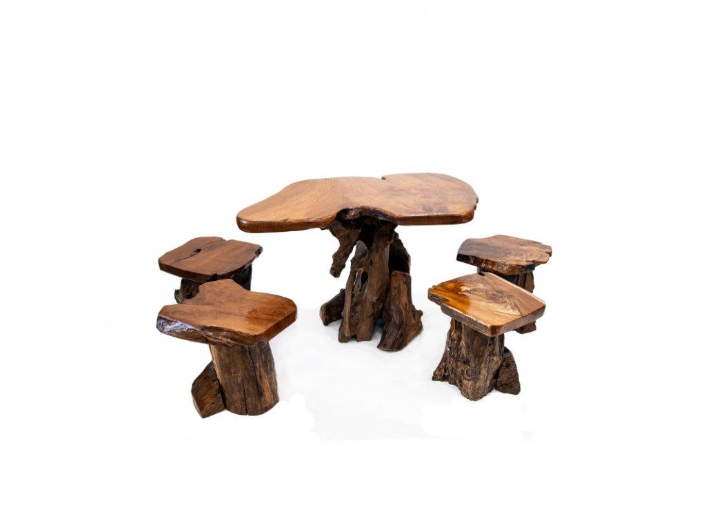Kořenový set - stůl + 4 stoličky 01