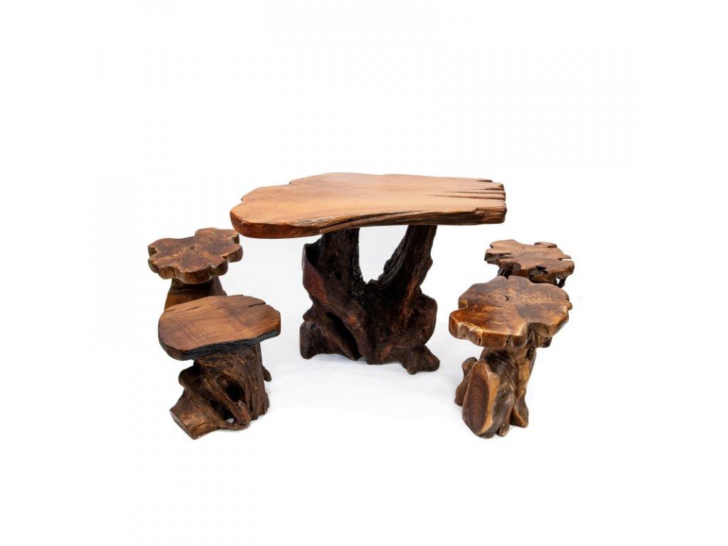 Kořenový set - stůl + 4 stoličky 03