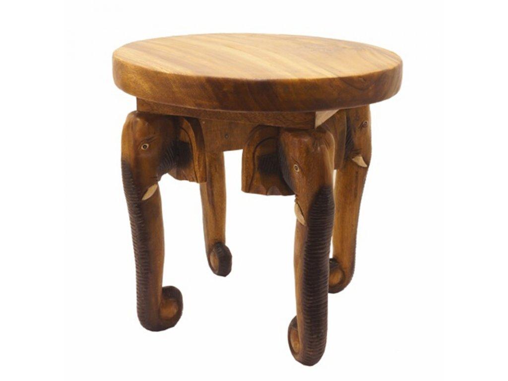 Stůl dřevo Round Elephant Heads