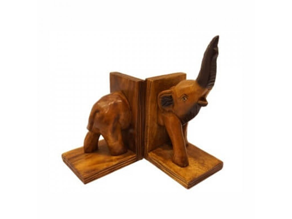 Zarážka na knihy dřevo Slon 21 cm