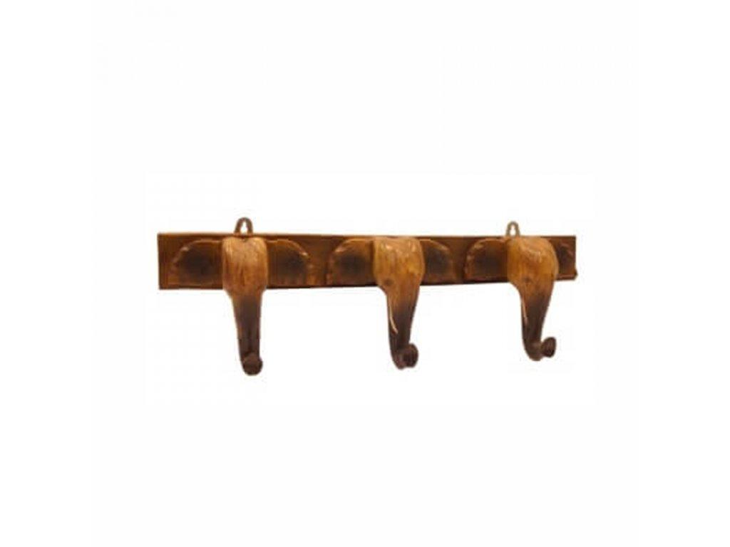 Věšák dřevo Sloní hlavy 15 cm