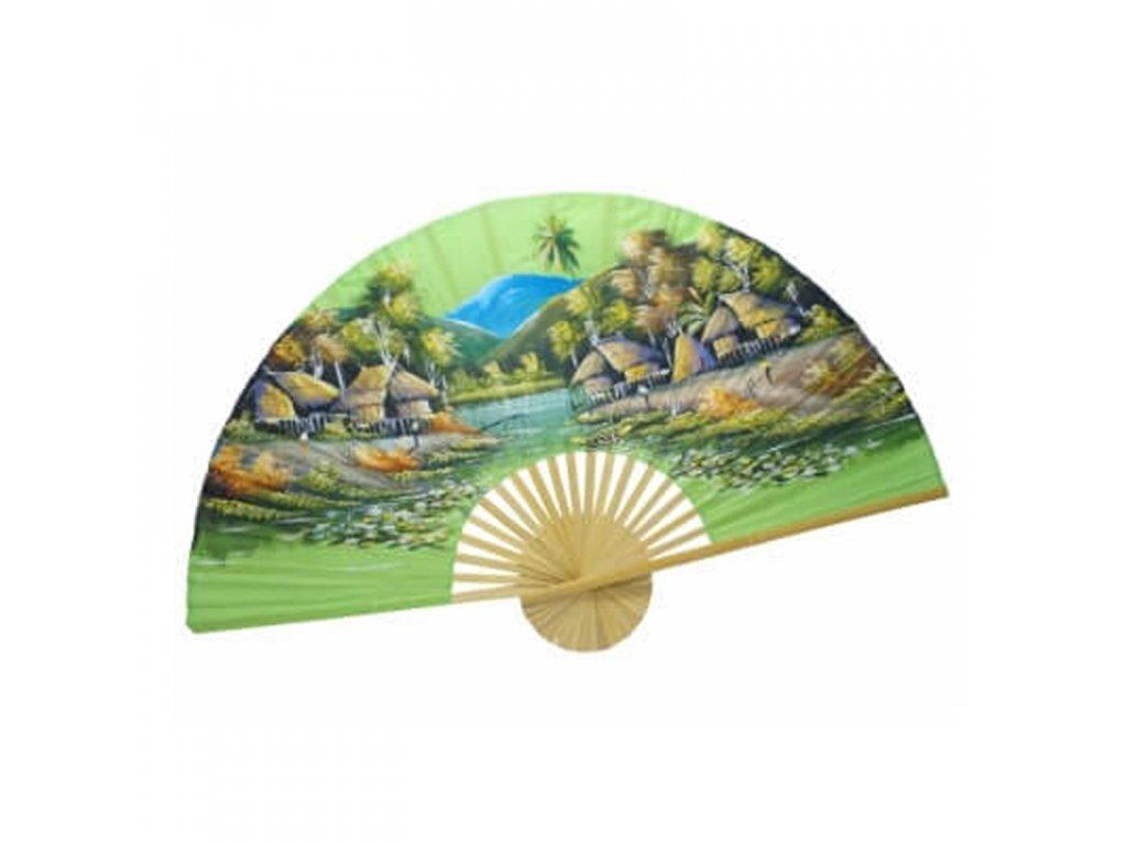 Vějíř bambus Jeřábi 03 plátno 150 x 90 cm