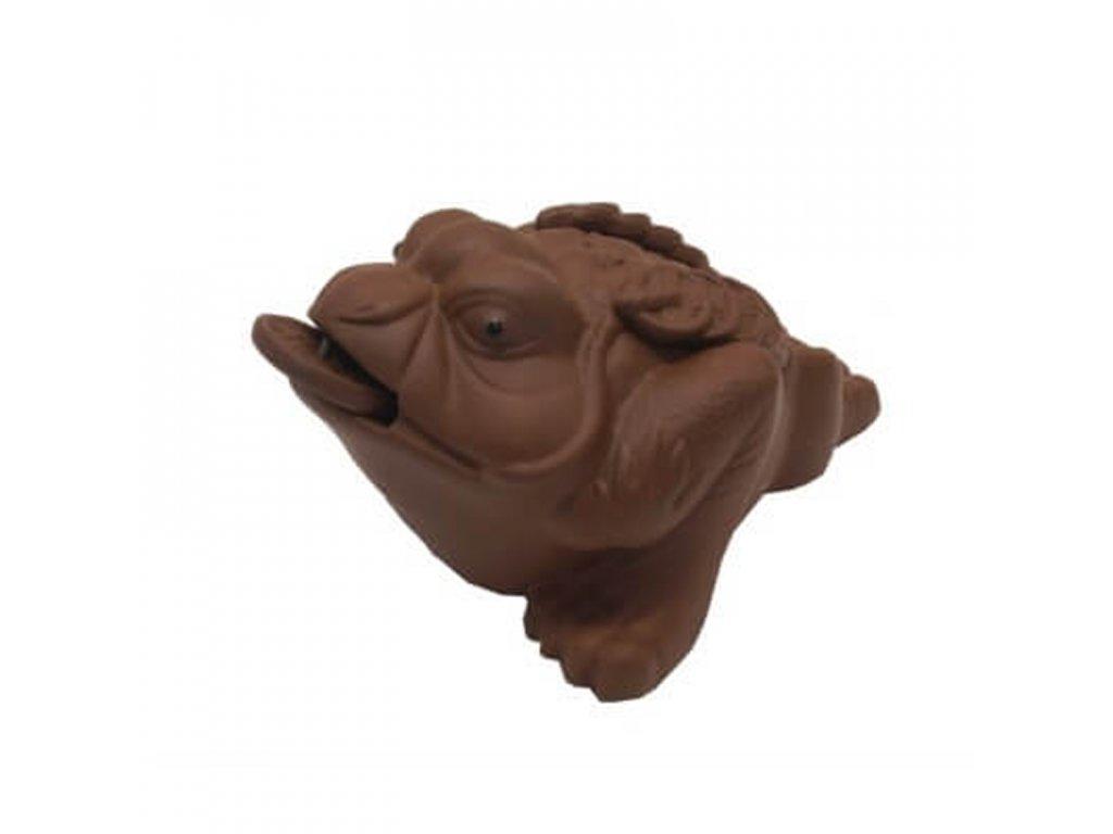Čajový duch Žába 13 x 8 cm hnědá