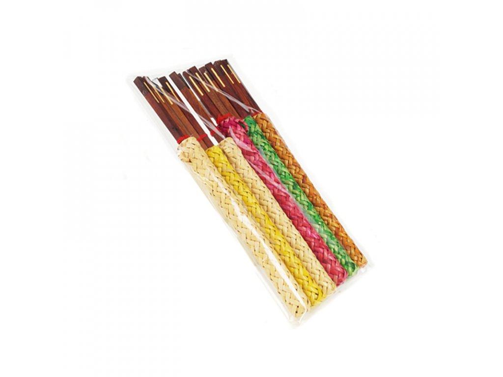 Jídelní hůlky dřevo Thai v proutěném obalu 25 cm natural