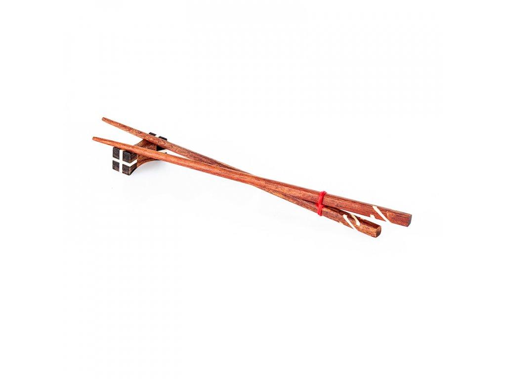 Jídelní hůlky dřevo Thai 01 s držákem 25 cm