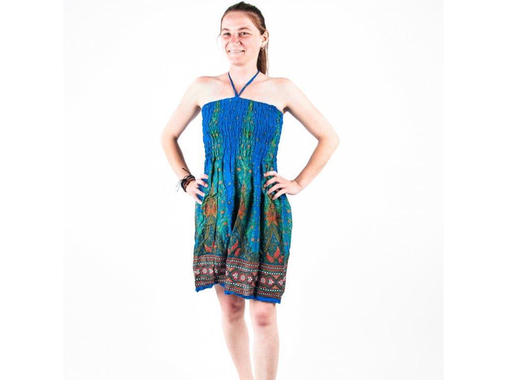 Šaty bez ramínek Feathers modrá