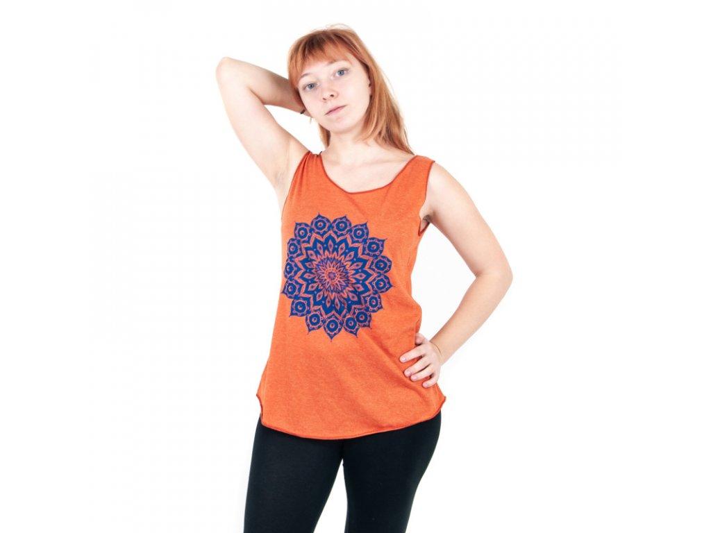 Tílko dámské Yoga Flower Mandala oranžová
