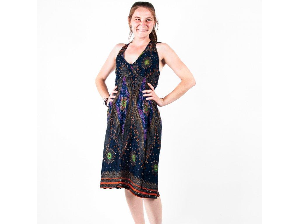 Šaty za krk Heart Strings tmavě modrá