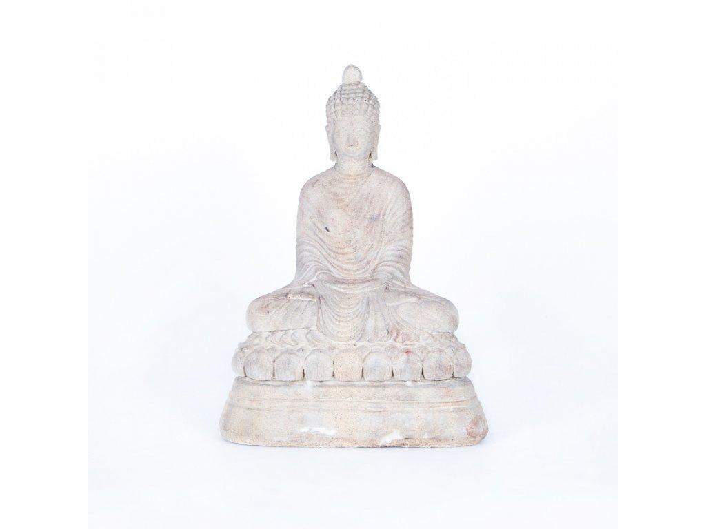 Soška beton Buddha Meditation 38 cm bílá