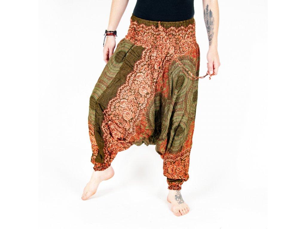 Kalhoty turecké dámské Honeycomb Mandala M zelená