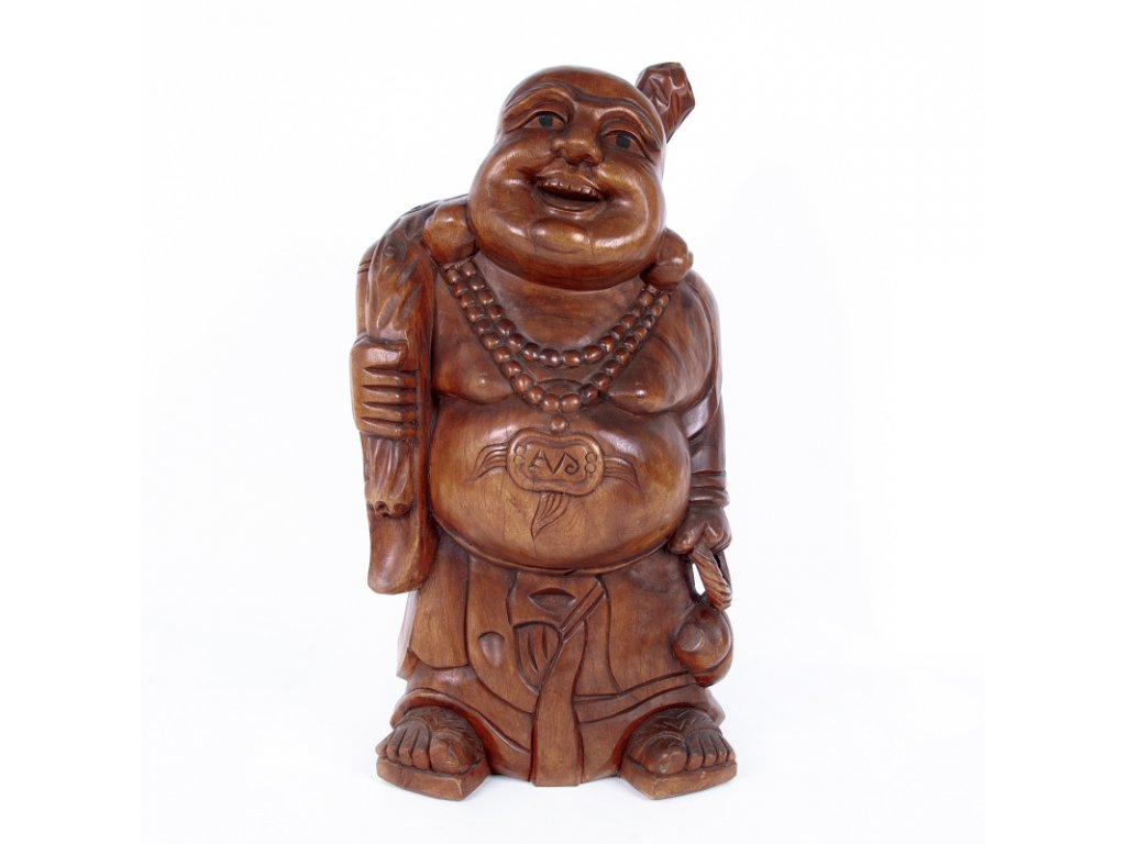 Soška dřevo Buddha Hotei 80 cm