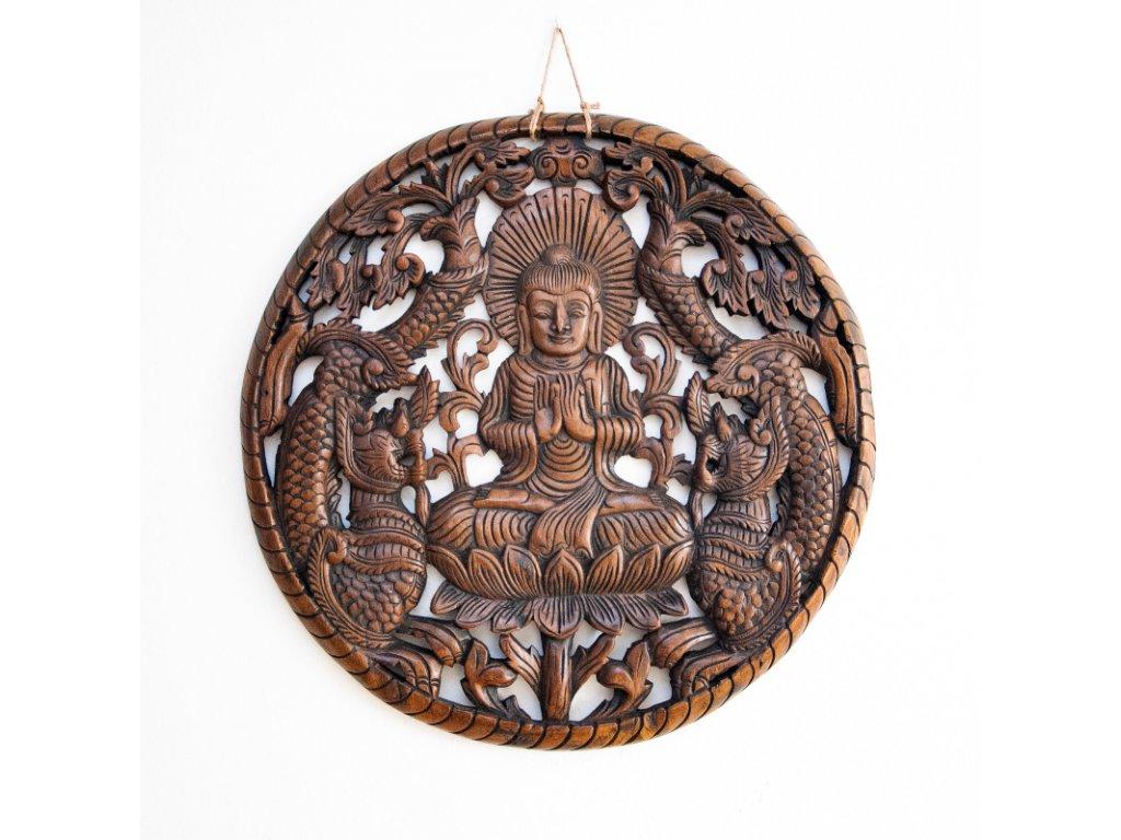 Závěsná dekorace dřevo Buddha Wheel 60 cm