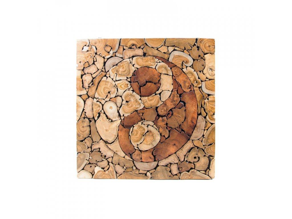 Závěsná dekorace dřevo Yin Yang Puzzle 80 x 80 cm