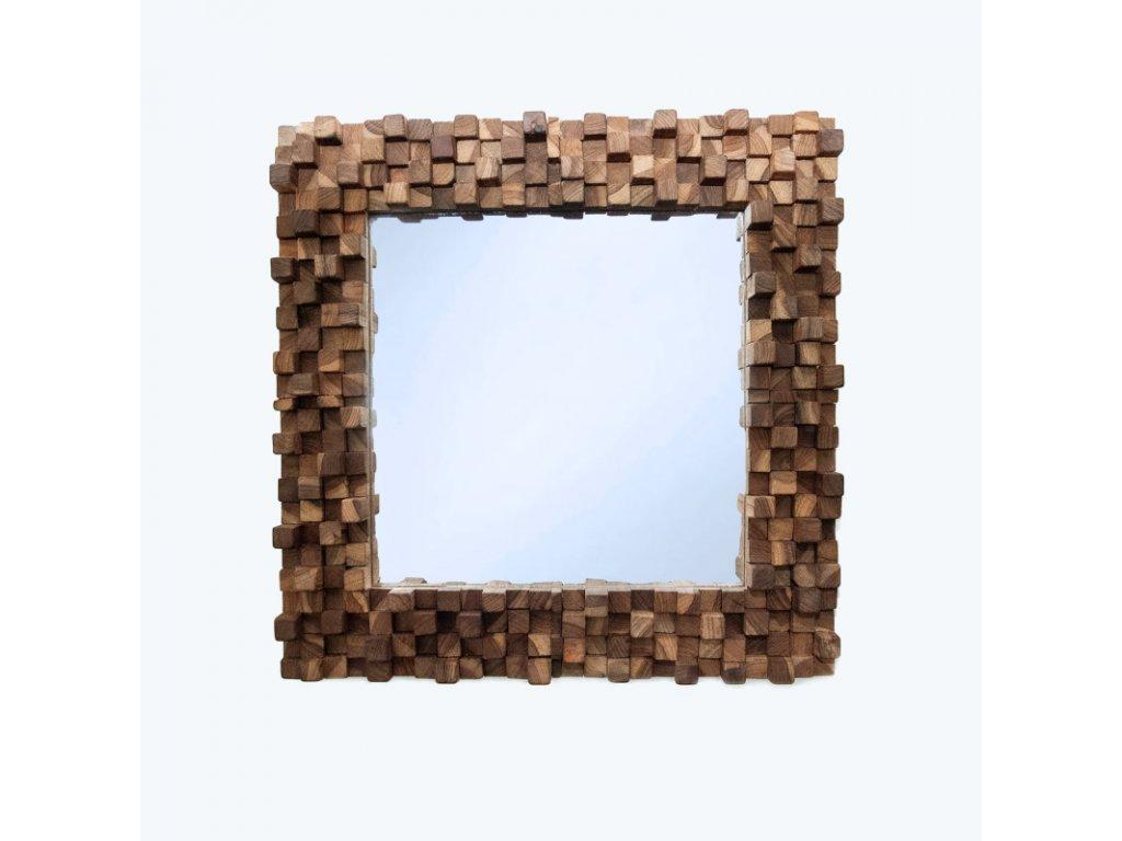 Zrcadlo dřevo Square Block Puzzle 50 x 50 cm