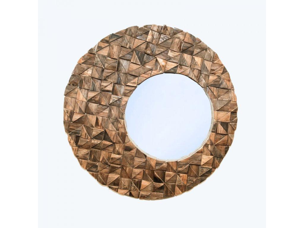 Zrcadlo dřevo Round Triangle Puzzle 78 cm