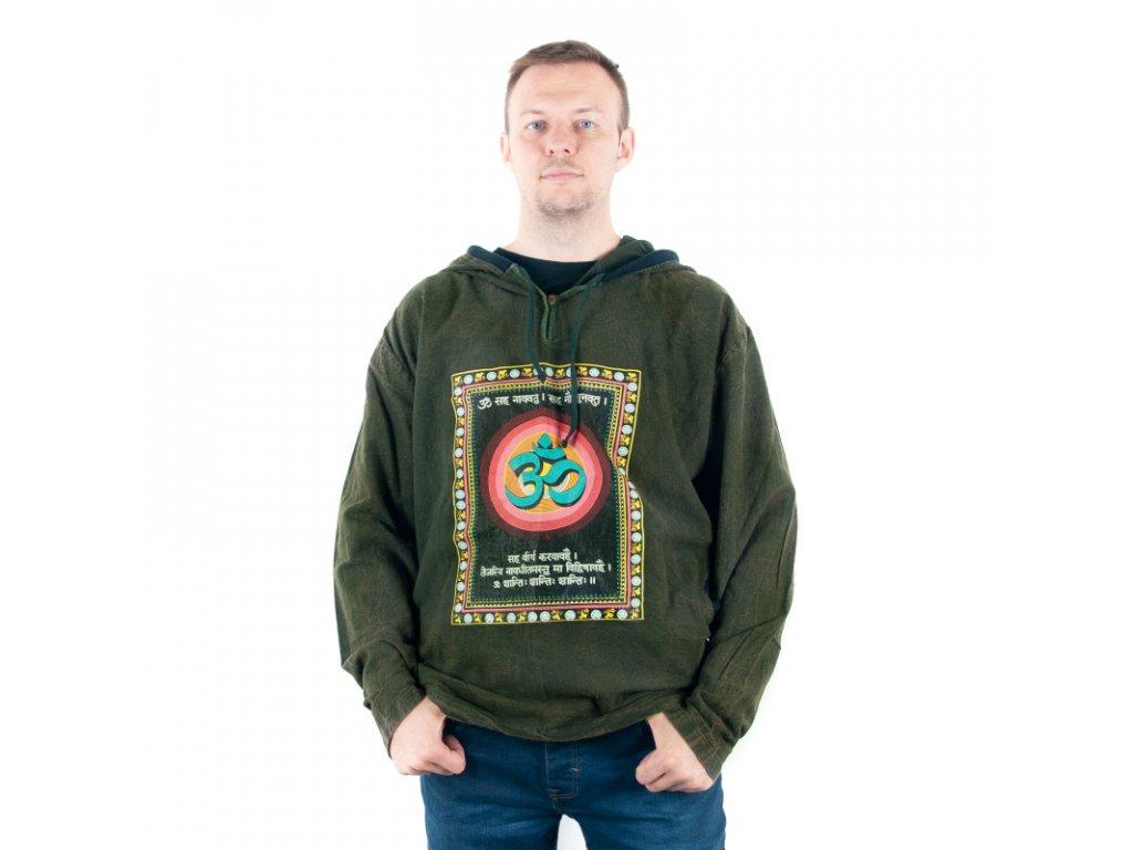 Mikina s kapucí Retro Om XXL tmavě zelená