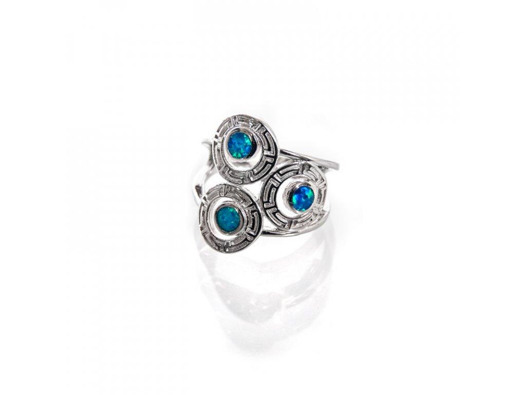 Prsten stříbro Tři brože modrý syntetický opál 07