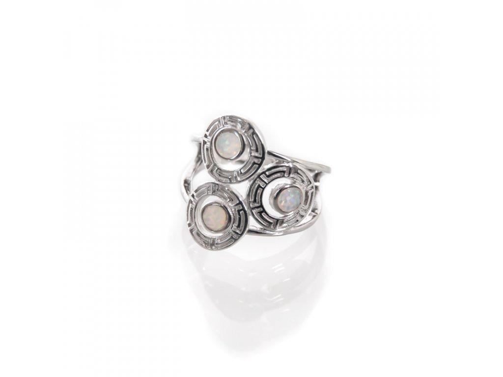 Prsten stříbro Tři brože bílý syntetický opál 08
