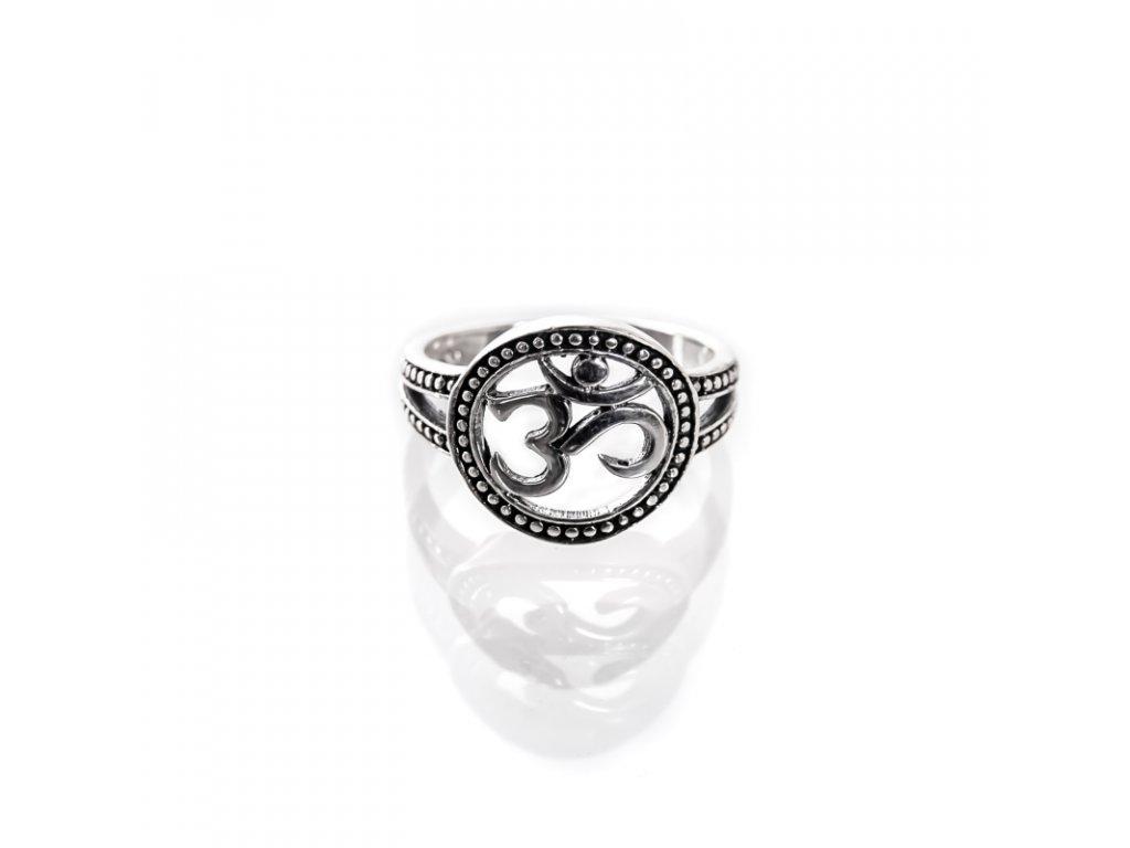 Prsten stříbro Óm v kruhu teček 08