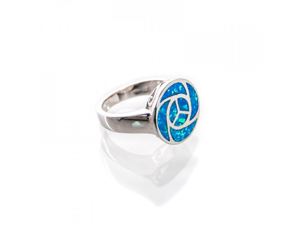 Prsten stříbro Element vody modrý syntetický opál 07
