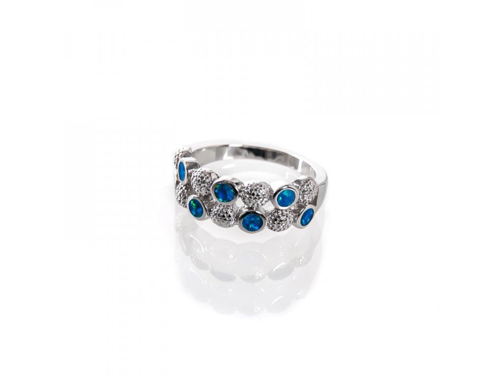 Prsten stříbro 7 teček modrý syntetický opál 07