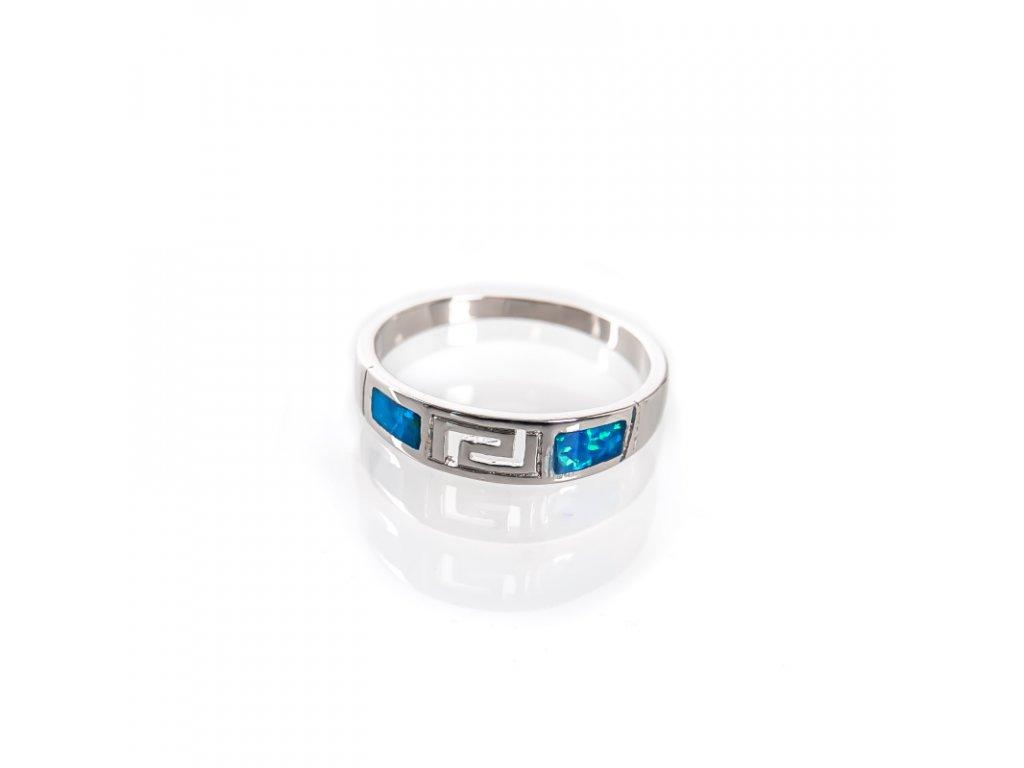 Prsten stříbro Spirálky hranaté modrý syntetický opál 08