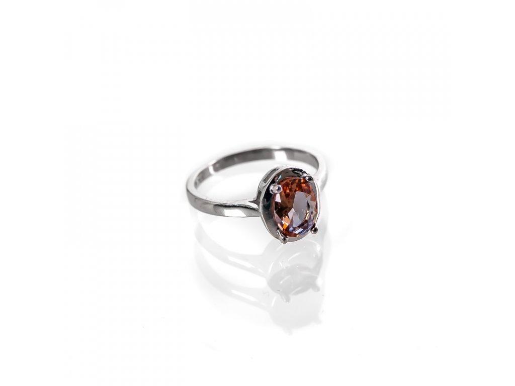 Prsten stříbro Ovál hnědý kámen 07