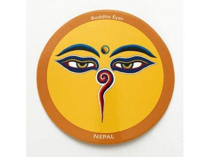 Samolepka Tibet - Buddha Eyes - žlutá